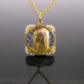 Art Nouveau Plique a Jour Pearl Gold Medal