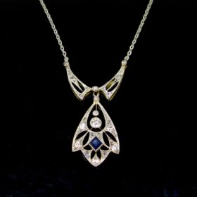 Belle Epoque Diamonds Sapphires Necklace
