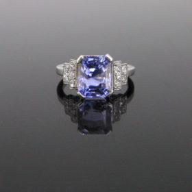 Art Deco Ceylon Sapphire Diamonds Ring