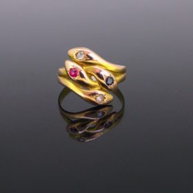 Victorian Double Snake Gold Ring