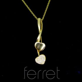 Pave Diamonds Hearts Gold Pendant by Ferret