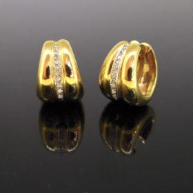 Retro Diamonds Yellow Gold Hoop Earrings