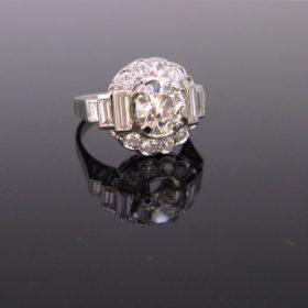 Art Deco 2ct Transitional Cut Diamond Ring