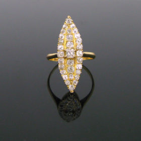 Antique Victorian Old Cut Diamonds Marquise Ring