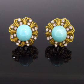 Vintage Turquoise Diamonds Clips Earrings