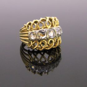 Retro 5 Rose cut Diamonds Bombe Ring