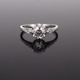 French Art Deco 0.90ct Solitaire Diamond Ring