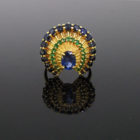 Vintage Sapphire Emerald Peacock Ring
