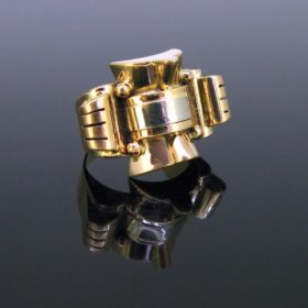 Retro Yellow and White Gold Tank Bold Ring