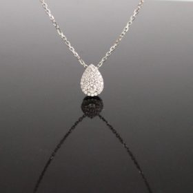 Pave Diamonds Pear Shape Pendant on Chain