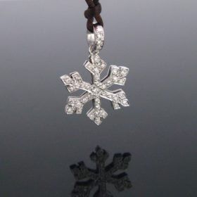 Diamonds Snowflake Gold Pendant on Cord