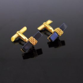 Vintage Onyx Yellow Gold Cufflinks