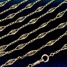 Victorian Long Guard Chain Necklace