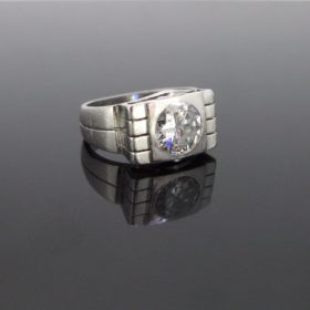 Art Deco 2ct Diamond Signet Platinum Ring