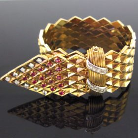 Retro Diamonds Ruby Belt Large Bracelet