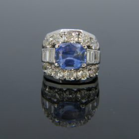 Ceylon No Heat 4.2Ct Sapphire Diamonds Ring