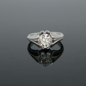 Retro 1.81ct Diamond Gypsy Platinum Ring