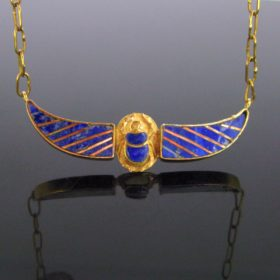 Vintage Egyptian Scarab Wings Necklace
