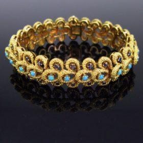 Retro Turquoises and Sapphires Bracelet