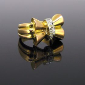 Retro Bold Diamonds Bow Ring
