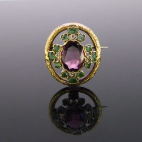 Victorian Garnet Emerald Diamond Brooch