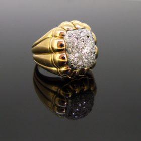 Retro Pave Diamonds Ribbed Bombe Ring