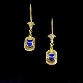 Egyptian Lotus Scarab Dangles Earrings
