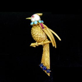 Vintage Bird on a Branch Gold Brooch