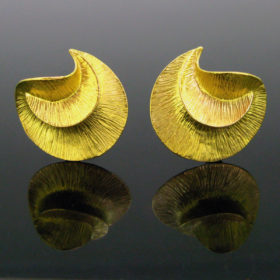 Design Brushed Gold Studs Earrings by Urart