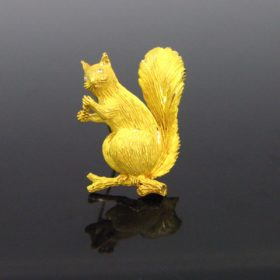 Diamonds Squirrel on a Branch Brooch