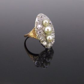 Belle Epoque 3 Naturals Pearls Diamonds Ring
