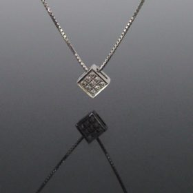 Brilliant Cut Diamonds Square Pendant on Chain