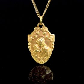 Art Nouveau Virgin and Child Medal, by Karo