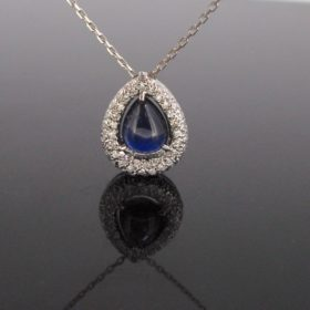 Cabochon Sapphire Diamonds Pendant on Chain
