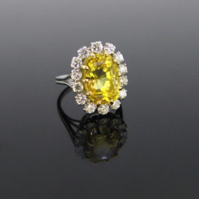 11ct Yellow Sapphire Diamonds Cluster Ring