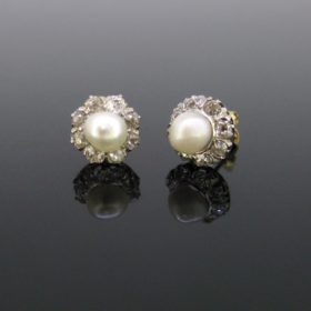 Edwardian Natural Pearls Diamonds Studs Earrings