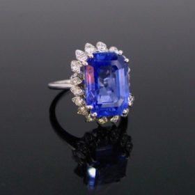 10.50ct Ceylon Sapphire Diamonds Cluster Ring