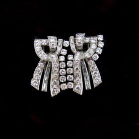 Art Deco 8ct Diamonds Platinum Double Clip