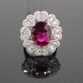 5.17ct Rubellite Diamonds Cluster Ring