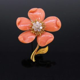 Van Cleef and Arpels Coral Diamonds Brooch
