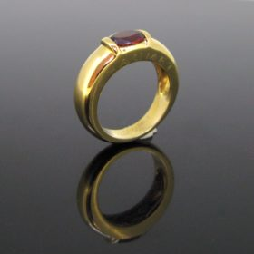 Chaumet Garnet Band Yellow Gold Ring