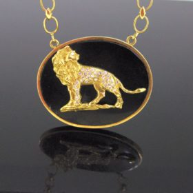 Onyx Lion Diamonds Pendant Necklace