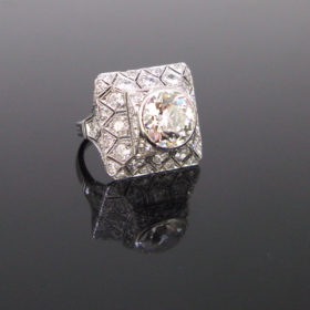 Art Deco 4ct Old European Cut Diamonds Ring