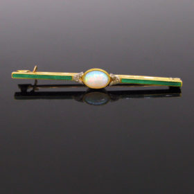 Edwardian Opal Diamonds Enamel Bar Brooch
