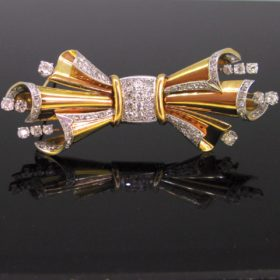 Retro Diamond Bow Ribbon Brooch