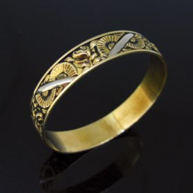 French Art Deco Two Tones Gold Bangle