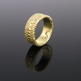 Vintage Diamonds Textured Gold Band Ring