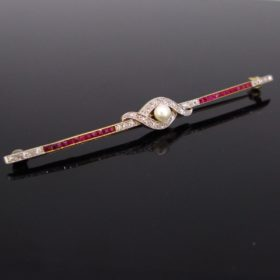 Edwardian Pearl, Diamond and Ruby Bar Brooch