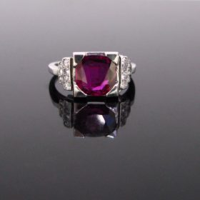 Art Deco Ruby Diamonds Ring