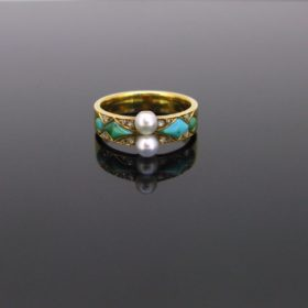 Antique Victorian Natural Pearls Turquoises Ring